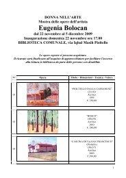 Catalogo Opere Eugenia Bolocan - Comune di Pioltello