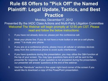 """Rule 68 Offers to """"Pick Off"""" the Named Plaintiff: Legal Update ..."""