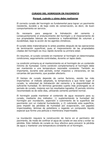 CURADO DEL HORMIGON EN PAVIMENTO Porqué, cuándo ... - ICPA