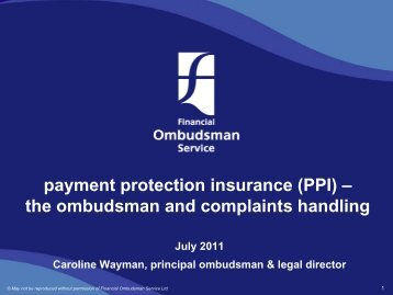 payment protection insurance (PPI) - Financial Ombudsman Service
