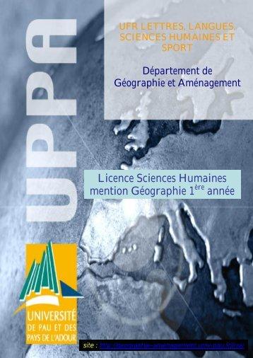 Licence Sciences Humaines mention Géographie 1 année