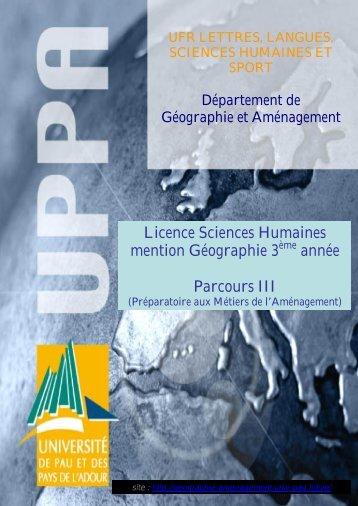 Licence Sciences Humaines mention Géographie 3 année Parcours III