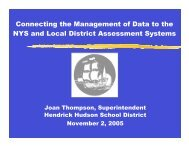 Connecting the Management of Data to the NYS and Local District ...
