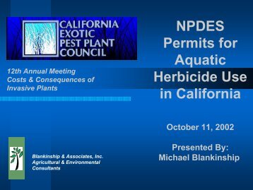 NPDES Permits for Aquatic Herbicide Use in California - Cal-IPC