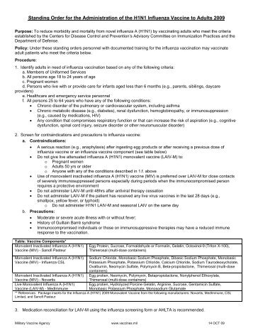 2009 H1N1 Influenza Vaccine Consent Form - Wausau School District