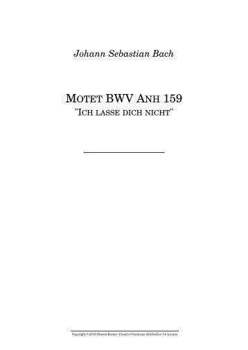 "Johann Sebastian Bach MOTET BWV ANH 159 """