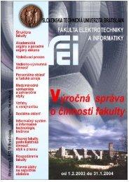 Správa o stave fakulty za rok 2003
