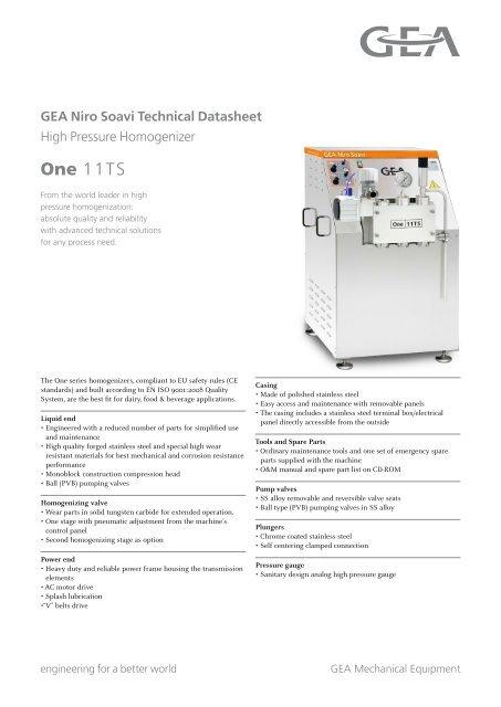 GEA Niro Soavi One11TS Tech Sheets ENG Rev05 2012