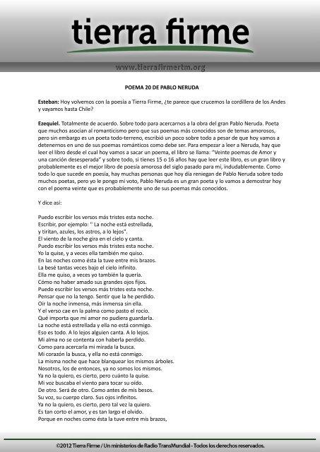 Poema 20 De Pablo Neruda Esteban Hoy Tierra Firme