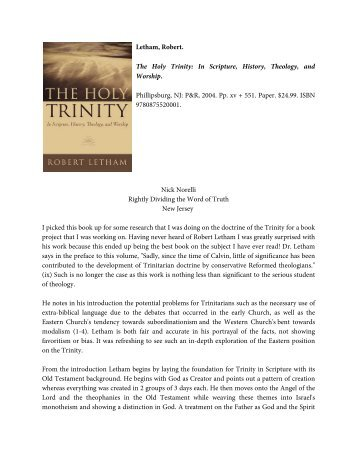 Letham, Robert. The Holy Trinity: In Scripture, History, Theology, and ...