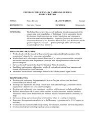 Policy Director CLASSIFICATION - Friends of the Boundary Waters ...