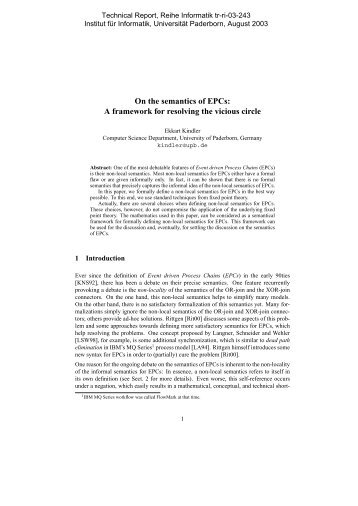 On the semantics of EPCs: A framework for resolving the ... - CiteSeerX