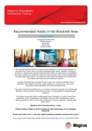 Recommended Hotels in the Bracknell Area - Magirus
