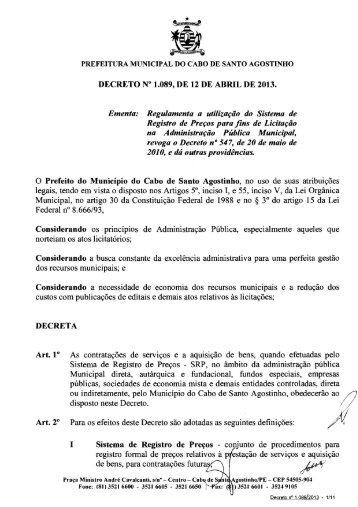 DECRETO No 1.0899 DE 12 DE ABRIL DE 2013. Ementa ...