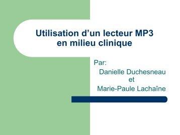 Utilisation d'un lecteur MP3 en milieu clinique - aeesicq