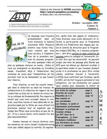 Journal de novembre 2001 - aeesicq