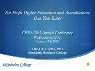 One Year Later - Council for Higher Education Accreditation