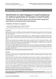 Identification du statut tabagique et conseil minimal par les ...