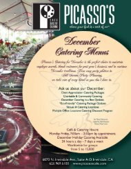 Holiday Catering Menu - Picasso's
