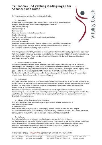 Teilnahme- und Zahlungsbedingungen für Seminare und Kurse