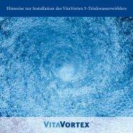Hinweise zur Installation des VitaVortex 5-Trinkwasserwirblers