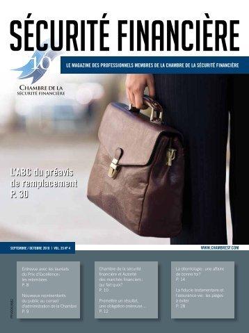 septembre-octobre 2010 - Vol. 35 - No 4 - Chambre de la sécurité ...