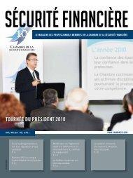 avril-mai 2010 - Vol. 35 - No 2 - Chambre de la sécurité financière