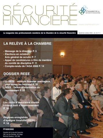 septembre-octobre 2008 - Vol. 33 - Chambre de la sécurité financière