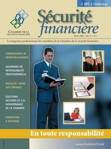 février 2006 - Vol. 31 - No 1 - Chambre de la sécurité financière