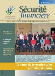 novembre 2005 - Vol. 30 - No 5 - Chambre de la sécurité financière