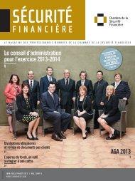 jUin-jUillEt-août 2013 | vol. 38 no 3 - Chambre de la sécurité financière