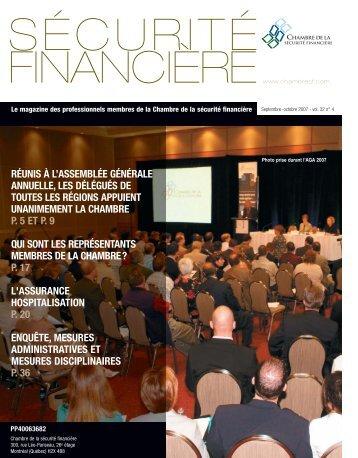 septembre-octobre 2007 - Vol. 32 - Chambre de la sécurité financière