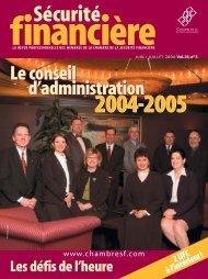 JUIN / JUILLET 2004 Vol. 29, no 3 - Chambre de la sécurité financière