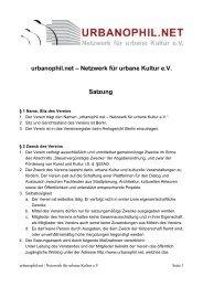 urbanophil.net – Netzwerk für urbane Kultur eV Satzung