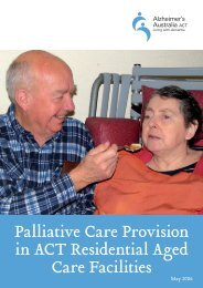 Palliative Care Provision in ACT Residential Aged Care Facilities