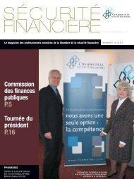 avril-mai 2007 - Vol. 32 - Chambre de la sécurité financière