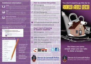 Burglary leaflet - Devon & Cornwall Police