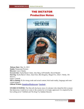 THE DICTATOR Production Notes - VisualHollywood