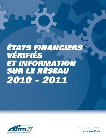 2010-2011 États Financiers - AUTO21