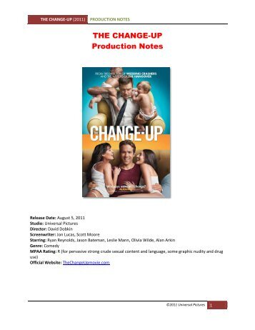 THE CHANGE-UP Production Notes - VisualHollywood