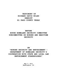 testimony - The House Committee on Homeland Security