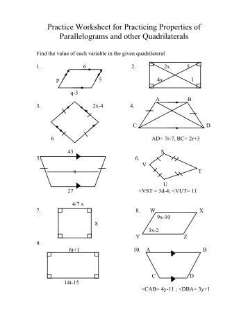 Printables Properties Of Parallelograms Worksheet properties of parallelograms worksheet 6 2 intrepidpath 4 special parallelograms