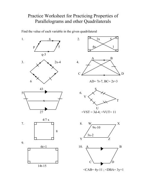 Practice Worksheet for Practicing Properties of Parallelograms and ...