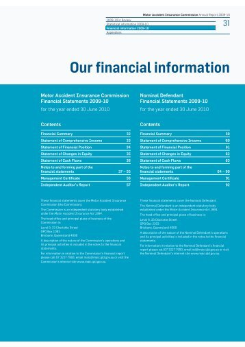 Our financial information (PDF 190 K) - Motor Accident Insurance ...