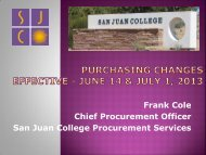 Purchasing Changes for Fiscal Year 2014 - San Juan College