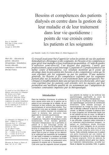 Besoins et compétences des patients dialysés en centre ... - Ipcem