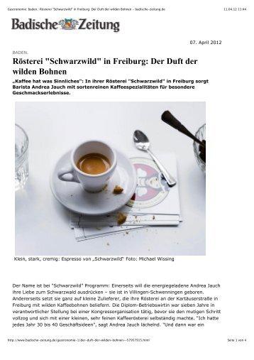 """Gastronomie: baden.: Rösterei """"Schwarzwild"""" in Freiburg: Der Duft ..."""