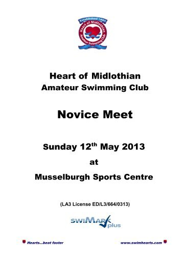 Heart of Midlothian ASC Novice Meet - Swim Scotland