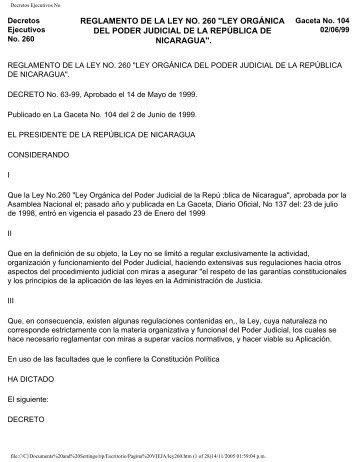 Ley Organica del Poder Judicial de Nicaragua