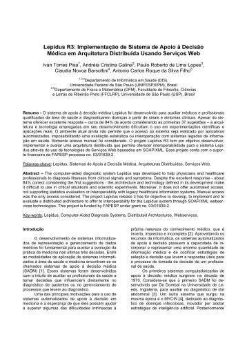 Implementação de Sistema de Apoio à Decisão Médica em ... - SBIS